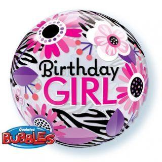 "Balon Bubble 22""/56cm Birthday Girl Floral Zebra Stripes, Qualatex"