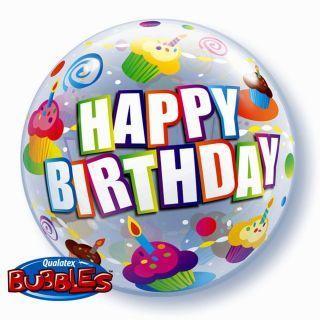 "Balon Bubble 22""/56cm Colorful Cupcakes Birthday, Qualatex"