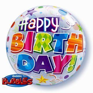 "Balon Bubble 22""/56cm Happy Birthday, Qualatex"