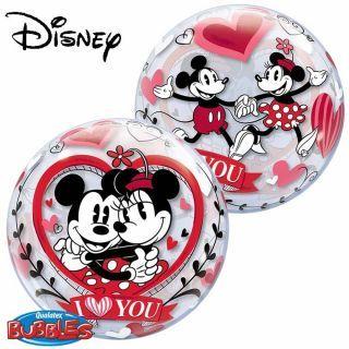 "Balon Bubble 22""/56cm Mickey & Minnie - ""I love you"", Qualatex"