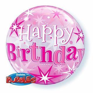 "Balon Bubble 22"" Roz Happy Birthday Stelute, Qualatex"