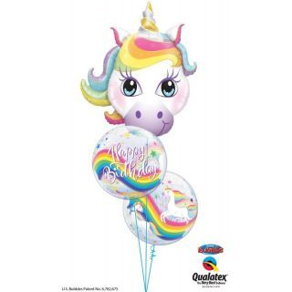 "Balon Bubble 22""/56 cm Birthday Rainbow Unicorns, Qualatex"
