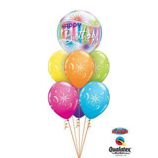 "Balon Bubble 22""/56 cm, Birthday Sorbet Starblast, Qualatex"