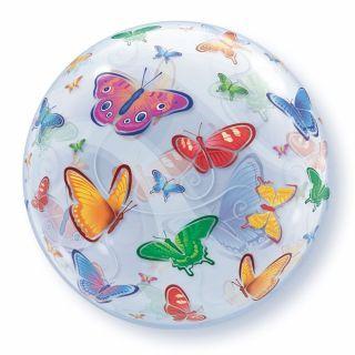 "Balon Bubble 22""/56 cm cu Fluturi, Qualatex"