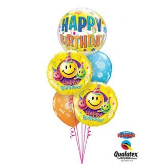 "Balon Bubble 22""/56 cm Happy Birthday Fun, Qualatex"
