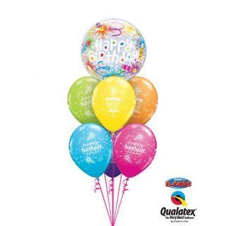 "Balon Bubble 22""/56 cm, Happy Birthday Lid Candles, Qualatex"