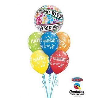 "Balon Bubble 22""/56 cm, Happy Birthday Music Notes, Qualatex"