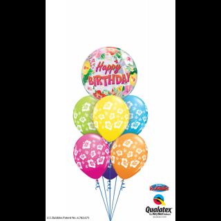 "Balon Bubble 22""/56 cm Happy Birthday Tropical, Qualatex"