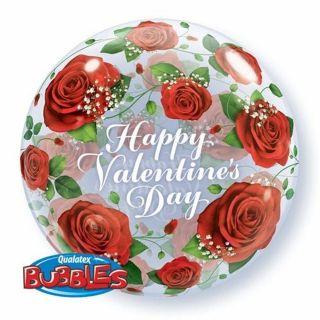 """Balon Bubble 22""""/56 cm Happy Valentine's Day, Q 27513"""