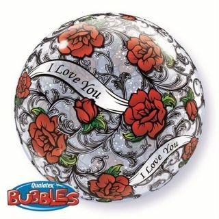 """Zoom Balon Bubble 22""""/56 cm I love you Red Rose, Qualatex"""