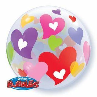 """Balon Bubble 22""""/56 cm, Inimi colorate, Qualatex"""