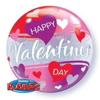 """Zoom Balon Bubble 22""""/56 cm, Red and Pink Hearts, Qualatex"""