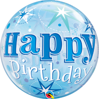 "Zoom Balon Bubble 22""/56cm, Birthday Blue Starbust Sparkle, Qualatex"