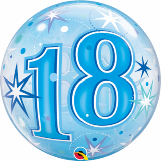 "Zoom Balon Bubble 22""/56cm, Blue Starbust Sparkle pentru aniversare 18 ani, Qualatex"