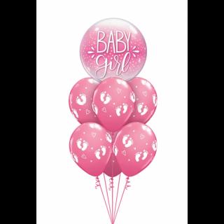 Balon Bubble Baby Girl 22''/ 56 cm, Qualatex