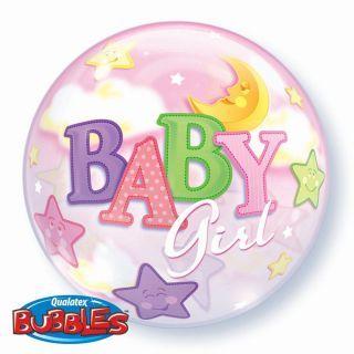 "Balon Bubble 22""/56cm Qualatex, Baby Girl"