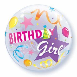 "Zoom Balon Bubble 22""/56cm Qualatex, Birthday Girl Party Hat"