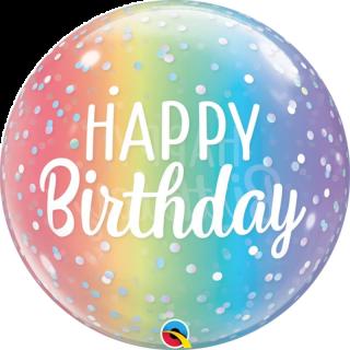 Zoom Balon Bubble Birthday Ombre & Dots 22''/ 56 cm, Qualatex
