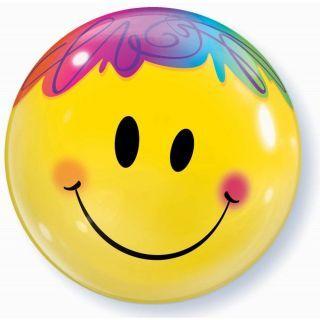 """Balon Bubble 22""""/56cm Qualatex, Bright Smile Face, Qualatex"""