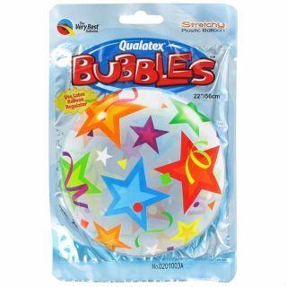 """Balon Bubble 22""""/56cm Qualatex, Brilliant Stars"""