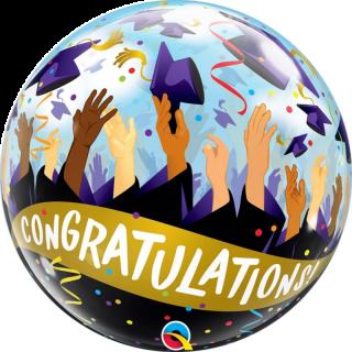 Balon Bubble Congratulations Grad Caps - 22''/ 56 cm, Qualatex