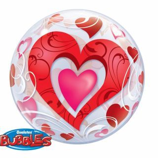 "Balon Bubble 22""/56 cm Inimioare Rosii, Q 33909"