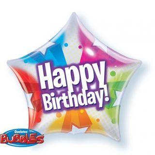 "Balon Bubble 22""/56cm Qualatex, Happy Birthday cu Stelute si Buline"