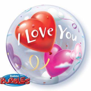 "Balon Bubble 22""/56cm Qualatex, I Love You, 16676"