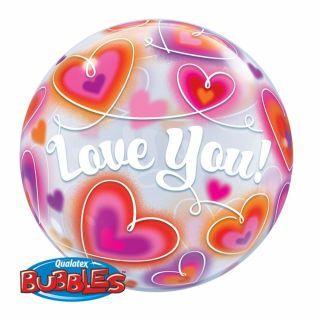 """Balon Bubble 22""""/56 cm Love You cu Inimioare, Q 34072"""