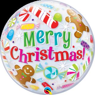 Balon Bubble Merry Christmas, Qualatex