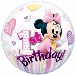 Balon bubble Minnie Mouse 1st Birthday - 56cm, Qualatex