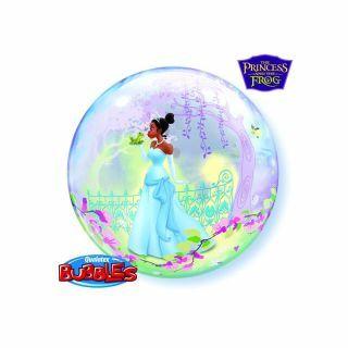 "Balon Bubble 22""/56cm Qualatex, Printesa si Broscoiul"