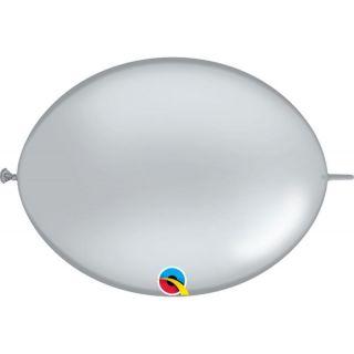 Balon Cony Silver, 6 inch (15 cm), Qualatex 90266, set 25 buc