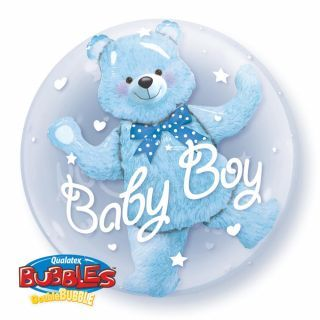"Balon Double Bubble 24""/61cm Qualatex, Baby Blue Bear"