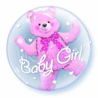 "Balon Double Bubble 24""/61cm Qualatex, Baby Pink Bear"