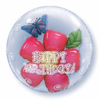"Balon Double Bubble 24""/61cm Qualatex, Birthday Flower"