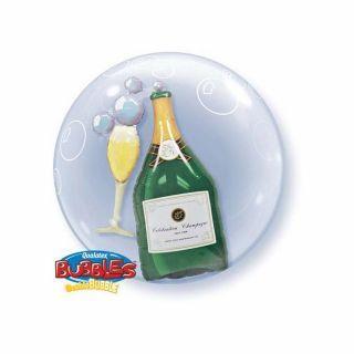 "Balon Double Bubble 24""/61cm Qualatex, Sticla si Pahar de Sampanie"