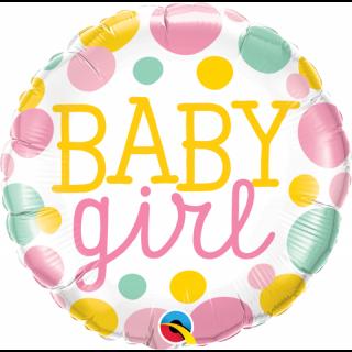 Balon Folie 45 cm Baby Girl Dots, Qualatex