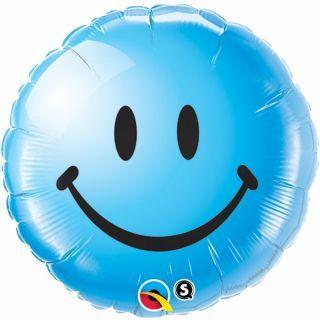 Balon Folie 45 cm Blue Smiley Face, Qualatex