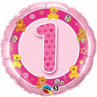 Balon Folie 45 cm Cifra 1 Roz cu Ursuleti, Qualatex 26281