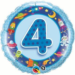 Balon Folie 45 cm Cifra 4 Albastra cu Extraterestri, Qualatex 26302