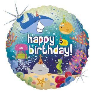 Balon Folie 45 cm Happy Birthday Marin, Holografic, Radar