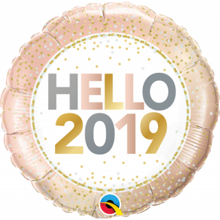 "Balon Folie 45 cm "" Hello 2019'', Qualatex"