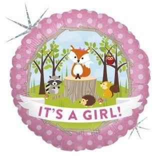 Balon Folie 45 cm It's A Girl - Animalute, Holografic, Radar
