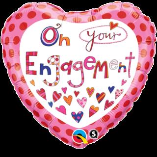 Balon Folie 45 cm On Your Engagement, Qualatex