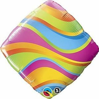 Balon Folie 45 cm, Qualatex, Valuri colorate, 34414