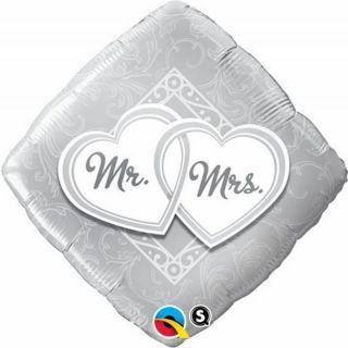Balon Folie 45 cm Romb Mr & Mrs, Qualatex