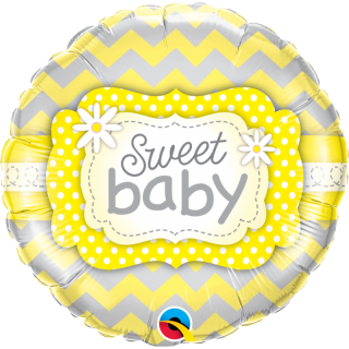 Balon Folie 45 cm Sweet Baby Yellow Patterns, Qualatex