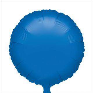 Balon folie 45cm uni rotund albastru metalizat, Amscan 19887