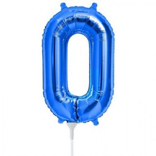 Balon folie cifra 0 albastru - 41 cm, Qualatex 59021